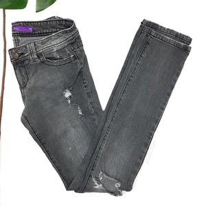 Denim - Gray Distressed Grunge Tall Slim Skinny Jeans